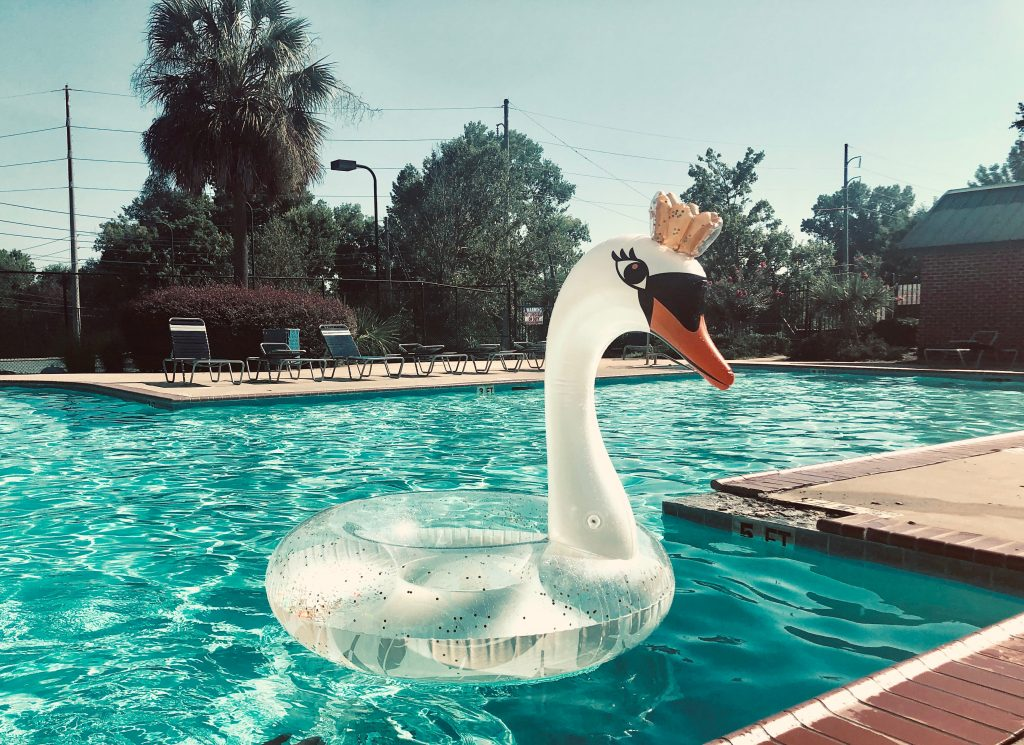 Swan Lilo in the Swimming Pool: too long a cold shower may increase DAMP.