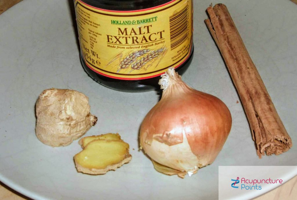 Cinnamon Malt Onion Ginger: excellent for Stomach Cold and deficient