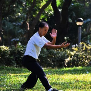 Tai Qi - Man doing Tai Chi, a great way to regulate Heart and Spleen Blood deficiency.nd Spleen