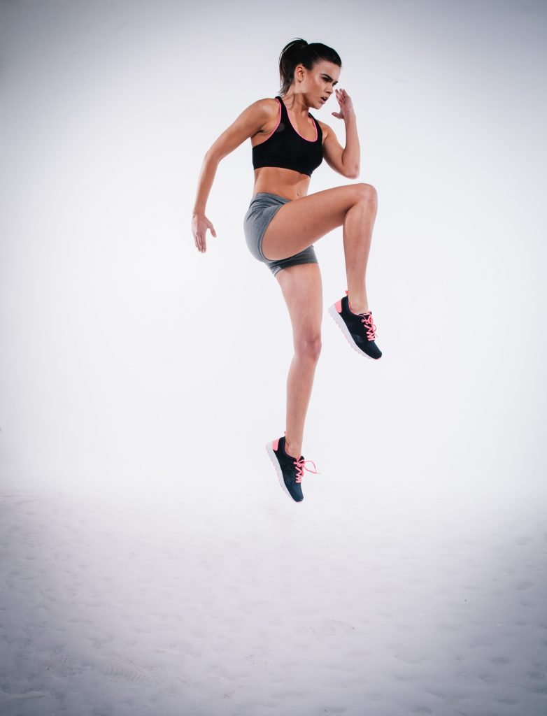 Exercise - woman leaping - could be interval training!