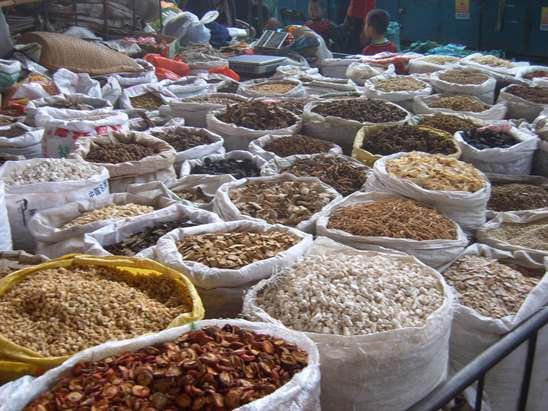 Chinese herbs in Xian market