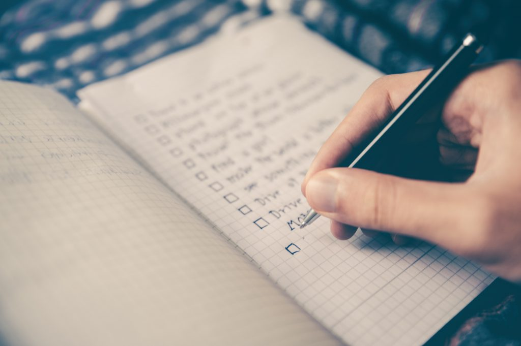 Making a list of priorities