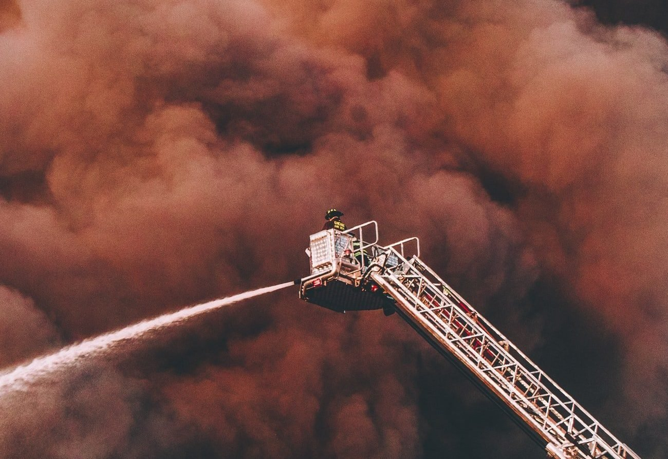 Firefighters putting down a fire