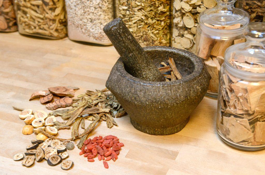 Chinese herbs making a prescription