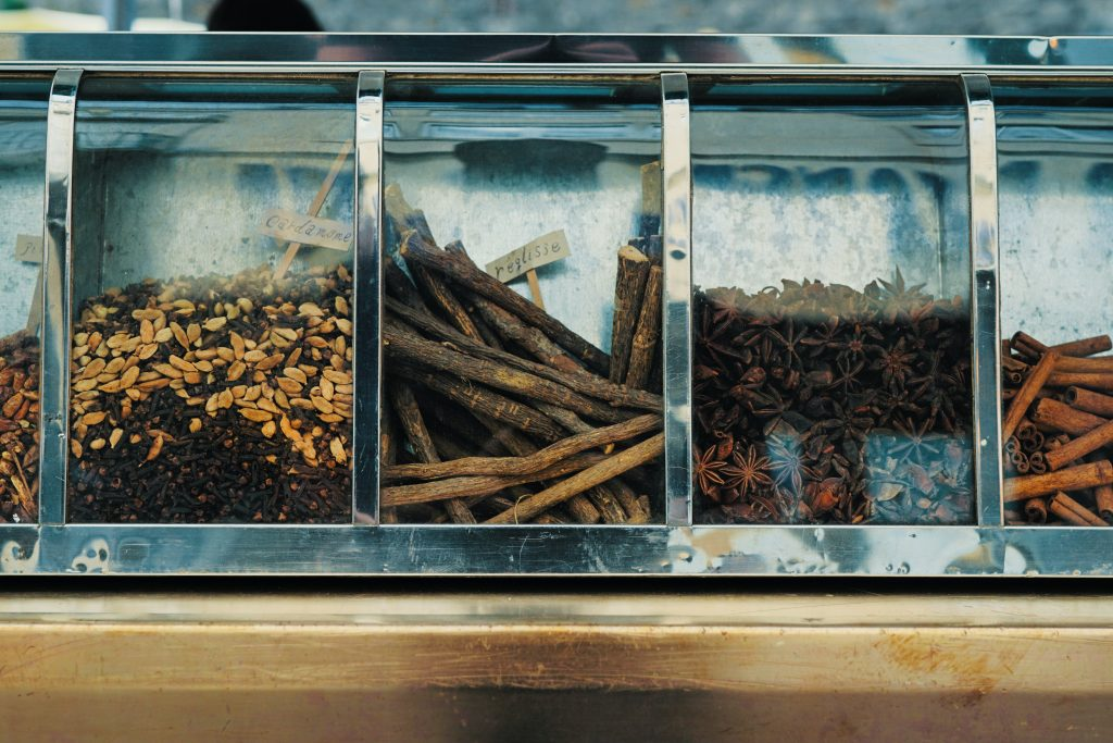 acupuncture theory and odours of assorted spices on display counter