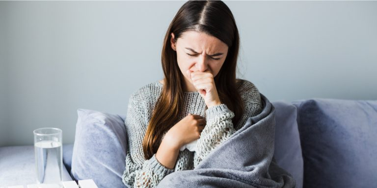 Woman Coughing Phlegm After Eating